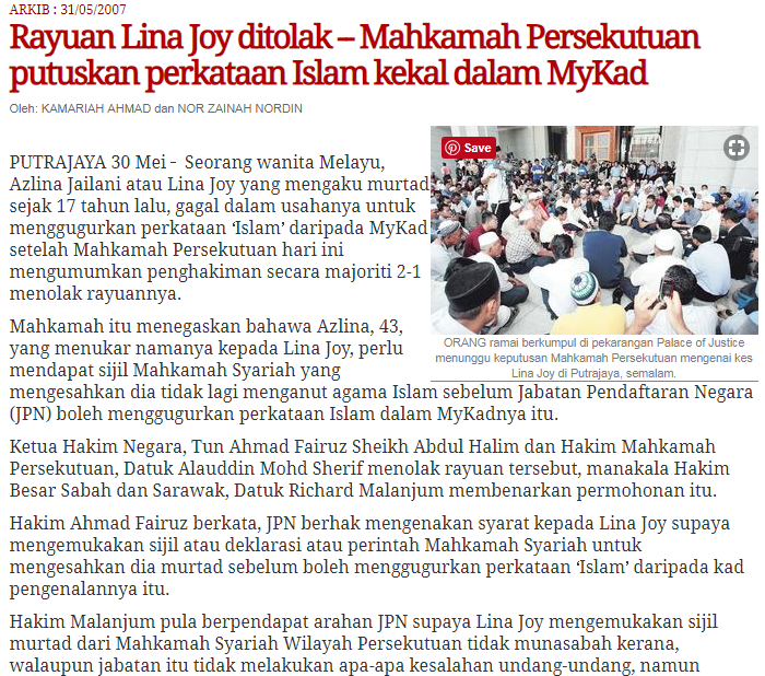 """""""Lina Joy's appeal rejected- Federal Court decided that Islam sticks on MyKad"""""""